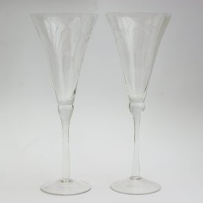 Vintage etched Champagne glasses