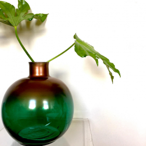 recycled green & bronze glass vase