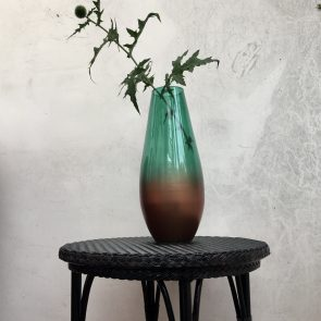 Green & Bronze large recycled vase