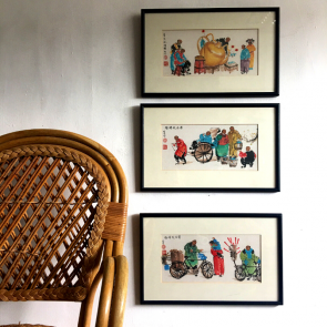 3 Chinese framed watercolour pictures