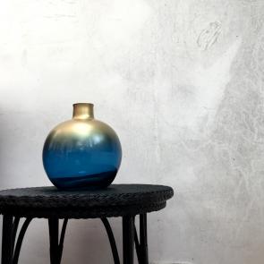 Blue & Gold recycled glass globe vase (large)
