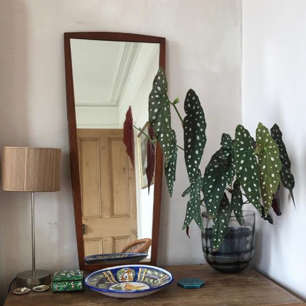 Midcentury Teak framed asymmetric mirror