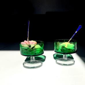 Vintage green glass desert bowl