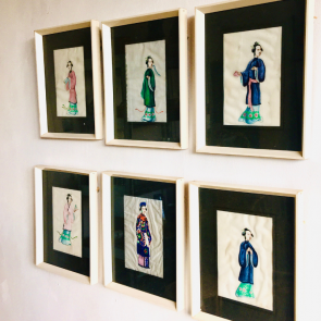 set of 6 framed Japanese watercolours of women in traditional clothes