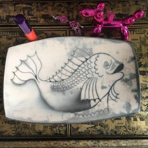 rediscova vintage dish with fish pattern
