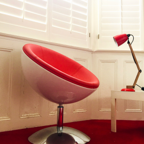 Red Danish Faux leather bubble chair
