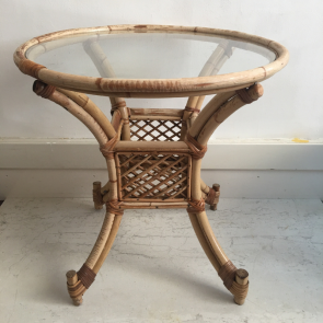 rediscova vintage round bamboo table