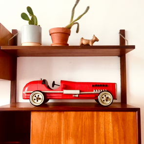rediscova red wooden racing car