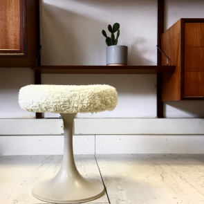 Midcentury tulip style stool/ seat with cover