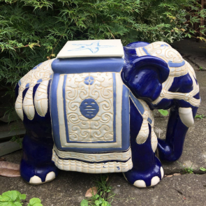 Blue Pottery Elephant Stool