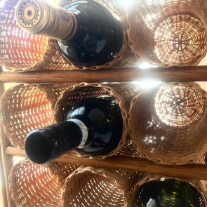 wicker & bamboo wine rack