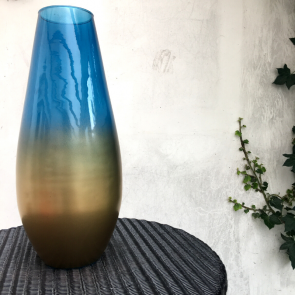 blue & gold recycled vase