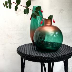 green & gold recycled globe vase (large)